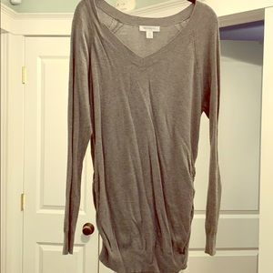 Grey maternity ruched long sleeve sweater.